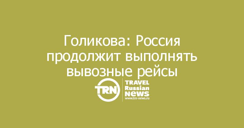Голикова: Россия продолжит выполнять вывозные рейсы