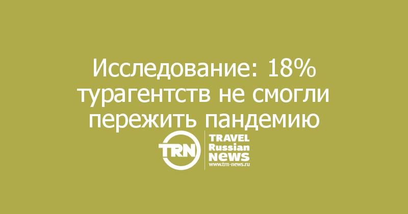 Исследование: 18% турагентств не смогли пережить пандемию