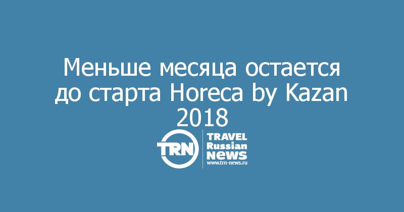 Меньше месяца остается до старта Horeca by Kazan 2018